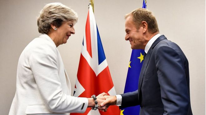 theresa may donald tusk brexit