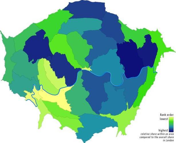 Szegények arányának növekedése Londonban