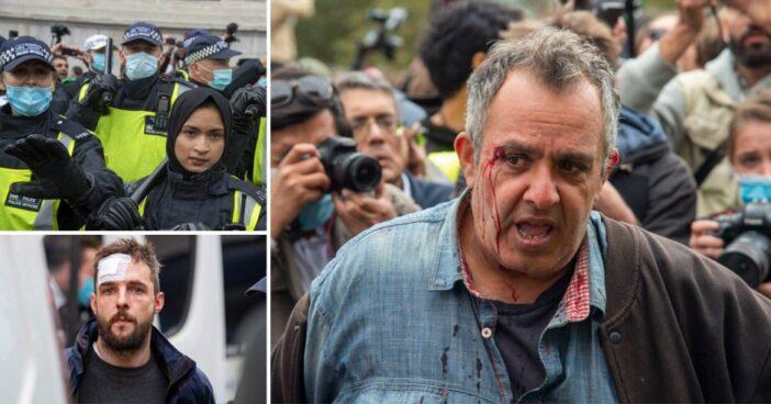 Összecsaptak a rendőrök és a koronavírus ellen tüntetők Londonban 1