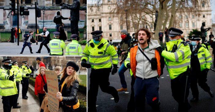 A rendőrség elkezdte letartóztatni a tüntetőket és a lockdown szabályait megsértőket Angliában 1