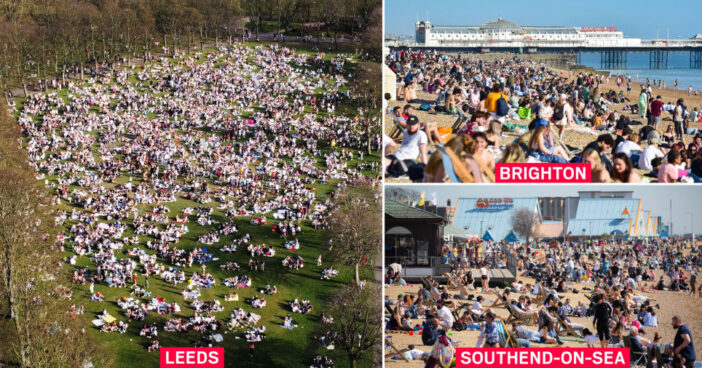 """""""Ne most rontsuk már el a legvégén"""" – kérte a brit egészségügyi miniszter, de a parkok és tengerpartok már tömve a szép időben 1"""