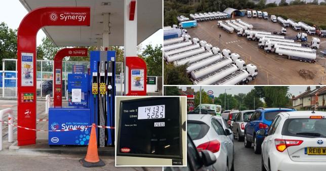 Az egyik benzinkút már brutális, majdnem £3/liter áron adja az üzemanyagot Londonban 1