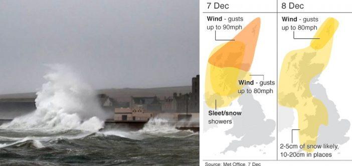 A Caroline vihar ma érte el Nagy-Britannia partjait, helyenként orkán erejű széllökésekkel 2