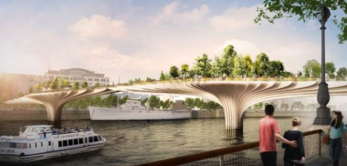 Computer generated image of new garden bridge to link Temple wit