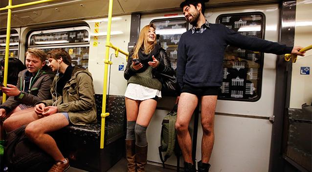 no_pants_subway_ride_couple