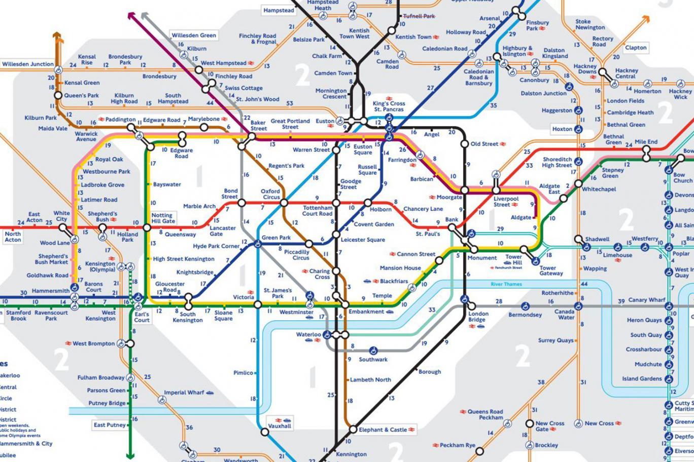 Az új londoni metrótérkép, ami mutatja hány perc sétára vannak a megállók egymástól 1